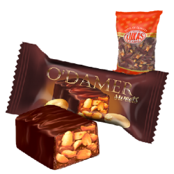 "#81441 ""LUKAS"" 'O'DAMER' MILKY COMPOUND COATED BAR W/ ROASTED PEANUTS 8kg (8pc x 1kg)"