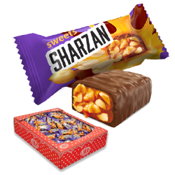 "# ""LUKAS"" 'SHARZAN' MILKY COMPOUND COATED TOFFY BAR W/ ROASTED PEANUTS 1000gr"
