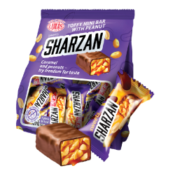 "#81434 ""LUKAS"" 'SHARZAN' MILKY COMPOUND COATED TOFFY BAR W/ ROASTED PEANUTS 200G / 12PC"