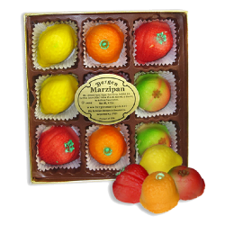 9 PIECE ASSORTED FRUIT MARZIPAN 4oz/48pc