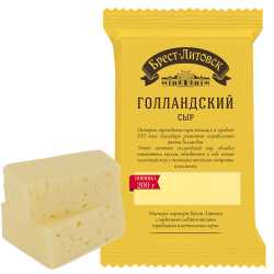 """BREST-LETOVSK"" GOLLANDSKIY CHEESE  50% 200GR/10PC"