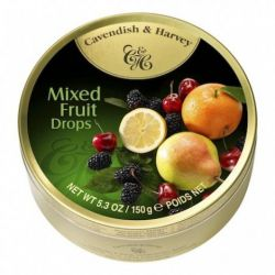 CAVENDISH&HARVEY CANDIES DROPS TIN MIXED FRUITS 5.3OZ/12PC