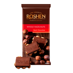 Dark chocolate with whole hazelnuts 90gr/18pc