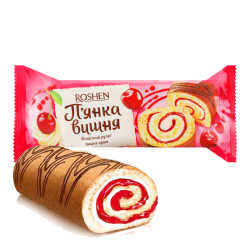 """Roshen"" Biscuit ROLL ""Drunk Cherry""  180g/14pc"
