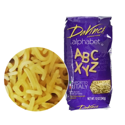 """DAVINCI"" ALPHABET MACARONI 12OZ/12PC"