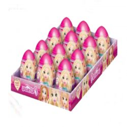"Surprise Egg With Fruit Flavored Mini Dragee Candy ""Cute Girls""  20gr/12pc"